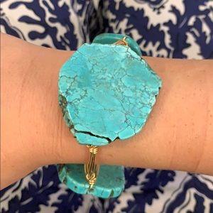 Turquoise stone bracelet faux bourbon and bowties